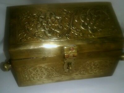Antique Indian  Mogul Bronze / Brass Dowry Teasure chest