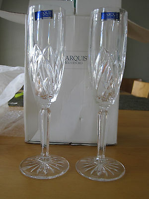 """2 Waterford Marquis Winter Celebrations  9"""" Champagne Flutes New W/tags & Box"""