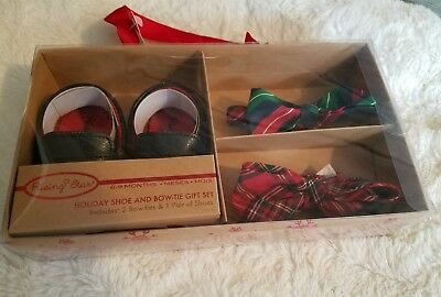 Rising Star Boys Holiday Shoes & Bow-Tie Gift Set Church Party Size 6-9 Months