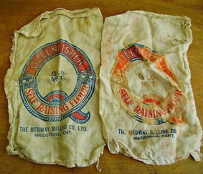 Rare vtg antique flour bag x2 Queenfisher Flour Maidstone/Bexley Old Mill WW1