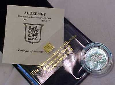 STERLING SILVER PROOF £1 OF ALDERNEY C.I. 1953 =40th ANNIVERSARY CORONATION YEAR