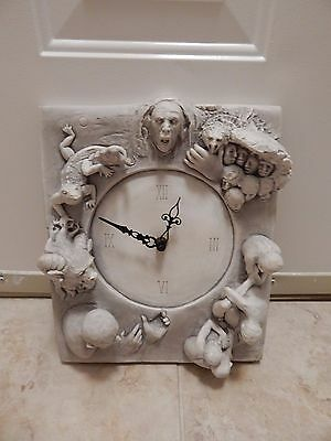 McMahon Demonic/Gothic Art Sculpture & Quartz Clock  from 1980's  ltd.edition !!