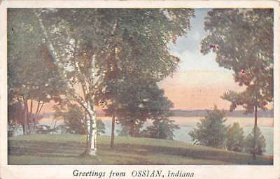 Ossian Indiana Scenic Waterfront Greeting Antique Postcard K73053