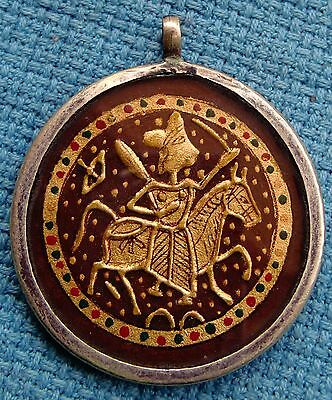 Embossed Golden Color Painting Of Hindu God Baba Ramdev On Horse Silver Pendant