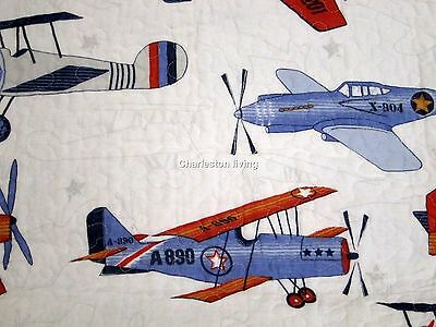 SKY HAWK Vintage AIRPLANES 3pc F/QUEEN Quilt SET Blue Red Gray Boys COTTON Kids