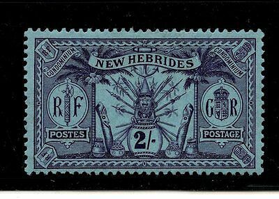 New Hebrides, British (NE480) #24 Native Idols, 2 shilling violet on blue, M, LH
