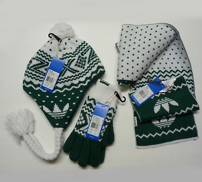 NEW adidas Originals ZX GLOVES PADDED, Scarf, Peruvian Bobble Hat Set of 3