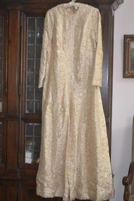 Vintage 1960 70's ALL OVER GOLD METALLIC LAME Print Palazzo Pants JUMPSUIT M