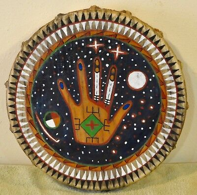 Sacred Hand /Native American Drum Painted by Lakota Artist Sonja Holy Eagle