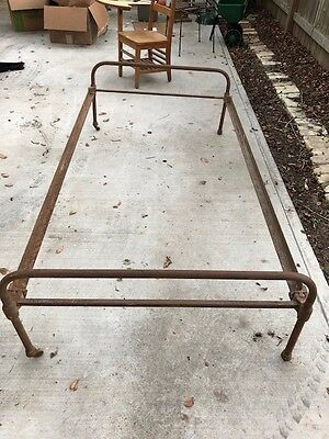 Antique Cast Iron Bed, Vintage Wrought Iron Bed, Twin Size with Rails