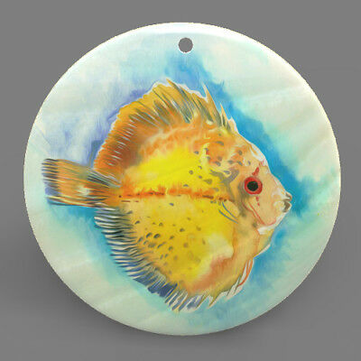 Mother of Pearl ShellFishColor Printing Pendant Necklace J1706 0022