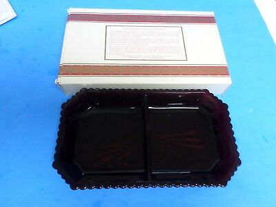 Avon Ruby Red 1876 Cape Cod collection ,Divided  Condiment Dish (new in box)1985