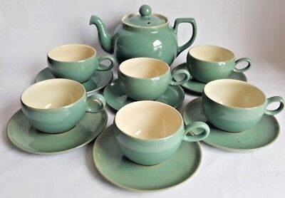 Vintage Denby 'Manor Green' 1 3/4 Pint Tea Pot & 6 x Cups and Saucers