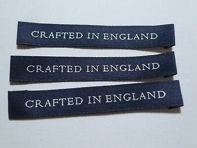 10/20/50 CRAFTED IN ENGLAND Navy Blue Woven Clothing Labels