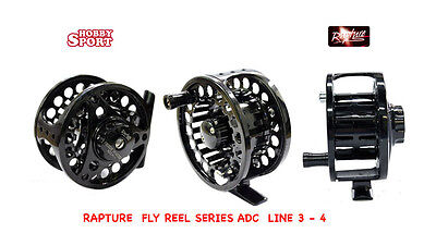 Fly Reel Mulinello Mosca  Line 3-4  Rapture Trabucco Guide Master Adc Black