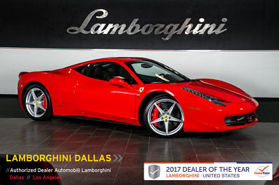 2010 Ferrari 458 Base Coupe 2-Door CARBON FIBER+LED+SPORT SEATS+WHITE TACH+SHIELDS+CC BRAKES+SPORT SEATS+HOMELINK