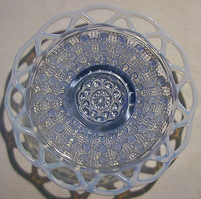 "Imperial ""Lace Edge"" Saucer/Underplate Pair Opalescent Blue Sugar Cane 1935"