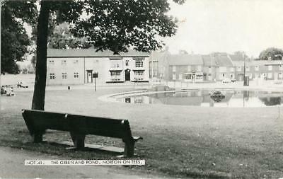Real Photographic Postcard Of The Green And Pond, Norton On Tees, County Durham