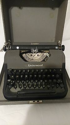 Underwood Leader manual Typewriter with case shown working # L10069 stamped on