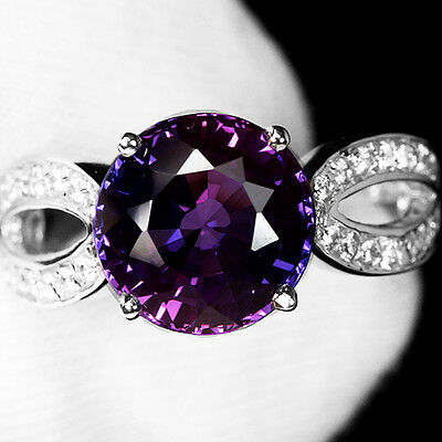 Bewitching 4.95 Ct. Purple Blue Sapphire Sterling 925 Silver Ring Sz 7.0 Us.