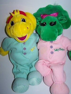 Barney and Friends Plush Lot BABY BOP & BJ IN SLEEPERS PLUS PILLOWCASE