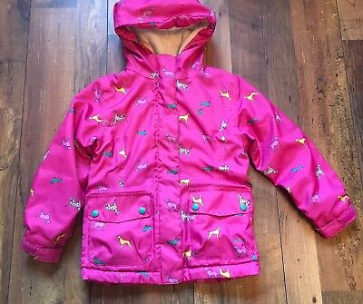 Joules Girls Pink Hooded Dog Print Coat Age 6 Years Fleece Lined