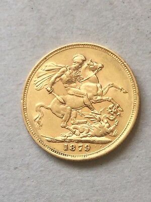 Victoria Young Head 1879M Full Gold Sovereign  - GF/GVF