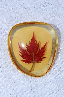 Vintage Reverse Lucite Brooch Pin Canada Red Maple Leaf Canadian Retro Handmade