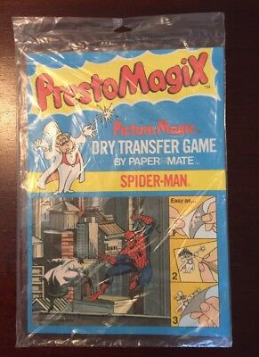 Presto Magix Spider-Man Dry Transfer Game By Paper Mate. New In Bag 1978 Hero