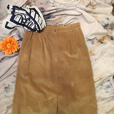 Vintage The Villager Corduroy Modest Casual Brown Tan Womens Size 8