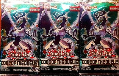 3 x YuGiOh CODE OF THE DUELIST BOOSTER PACKS Sealed New Mint
