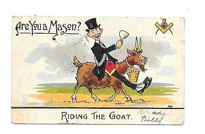 """Postcards Masonic Comic, """"Are You A Mason?,""""Riding the Goat"""" Ser. 546 Brown Back"""