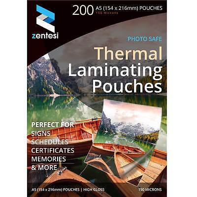 Zentesi A5 Gloss Glossy Laminating Pouches 20/50/100/200 Sheets - 150 Micron