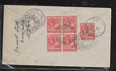 Antigua (P12103B)  Kgv 1Dx5  On 1925 Reg Cover To Usa