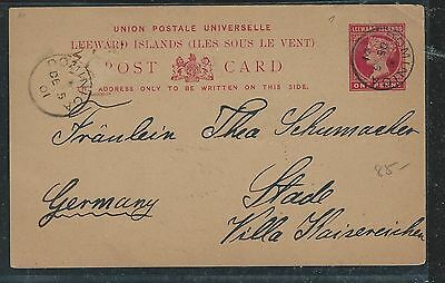 Leeward Islands (P2712B) 1901 Qv 1D Psc From Dominica  To Germany With Msg