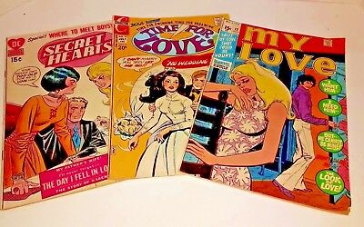 Lot of 3 Vintage Ramance Comics~Early 1970's~Secret Hearts~My Love~Time for Love