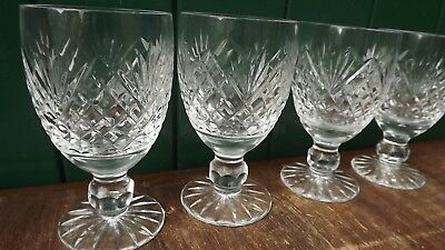 Tyrone Crystal set of 4 stemmed Red Wine /Port Glasses Fully stamped 12.5cm tall