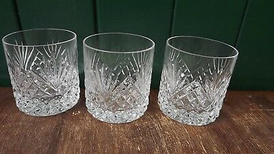 Tyrone Crystal set of 3 Whiskey Glasses Fully stamped 7.5cm tall