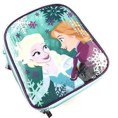 Disney Store Frozen Insulated Lunch Tote Bag Teal Blue Purple Shimmer Sequin