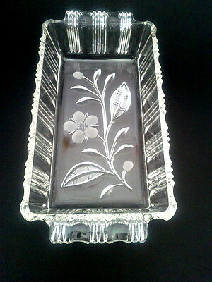 """Sunray Pressed Glass 9 1/4"""" Loaf Dish Flower Pattern Rectangular Ribbed Handled"""