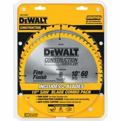 Dewalt Saw Blades Dw3106P5 2 Pack 10-Inch 60 Tooth/32 Tooth Miter Saw Table Saw