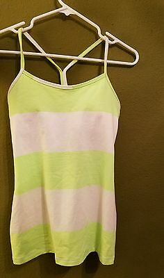 lululemon 6 tank top green white sports bra workout yoga athletica summer shirt