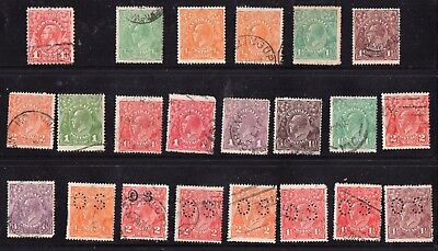 Stamps: Australia:  KG V  Heads - 1913- 36   Most FU, two MM