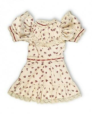 """Bebe Jumeau red flower chemiss dress antique French German 30"""" -32"""" bisque doll"""