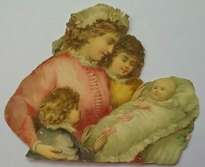 Sweet,emb.diecut chromo Victorian Scrap.Mother, children & baby.  10x7&1/2cms.