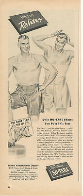 Vintage Ad 1945 Reliance Manufacturing Company No-Tare Shorts