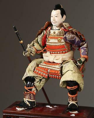 Fine Old Japanese Ningyo Textile & Wood Figure of a Warrior ca. 20th century #3