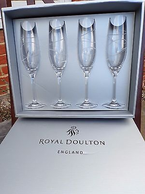 Boxed Royal Doulton Swirl Clear Champagne Flutes Set Of 4 *excellent Condition!*