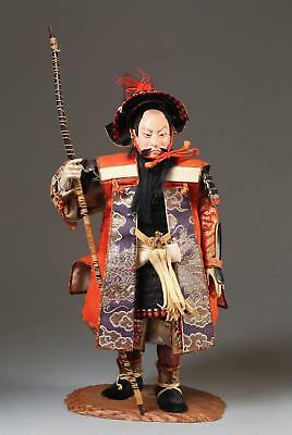 Fine Old Japanese Ningyo Textile & Wood Figure of a Warrior ca. 20th century #4