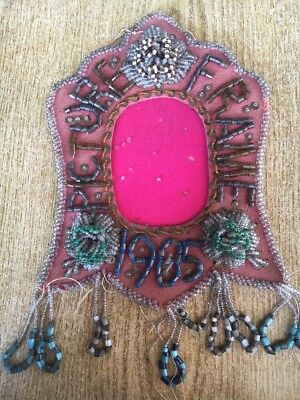 """Antique 1905 IROQUOIS BEADED WHIMSEY Photo Frame 9 1/2"""" 3-D Flowers Picture"""